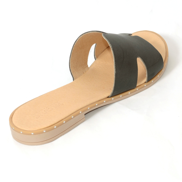 Papuci din piele naturala 254 Verde 1