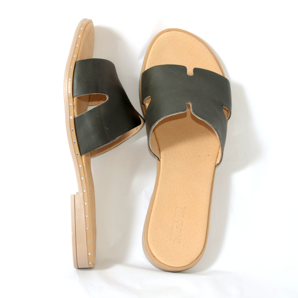 Papuci din piele naturala 254 Verde 2