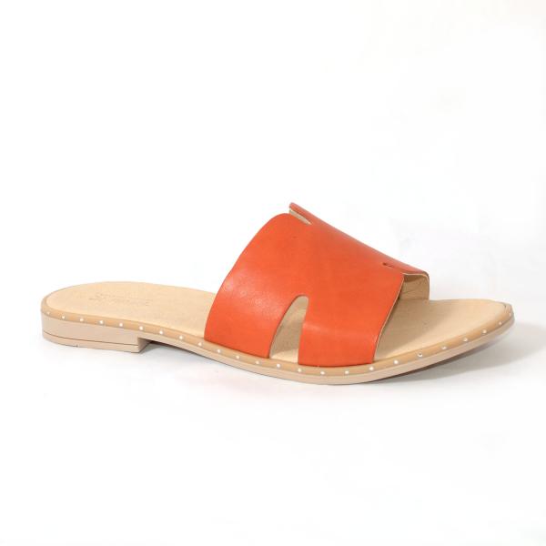 Papuci din piele naturala 254 Portocaliu 1