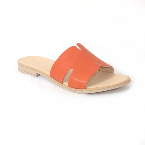 Papuci din piele naturala 254 Portocaliu 0