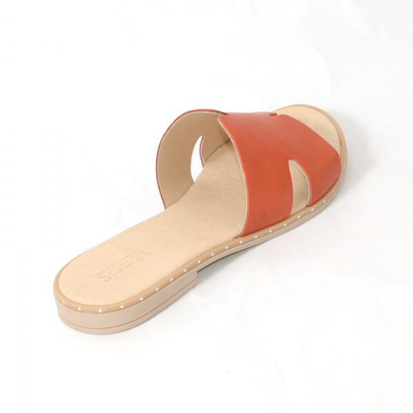 Papuci din piele naturala 254 Portocaliu 2