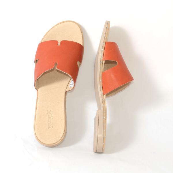 Papuci din piele naturala 254 Portocaliu 3