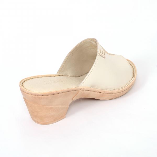 Papuci din piele naturala 315 Bej 2