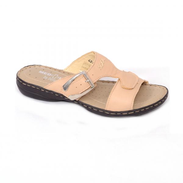 Papuci din piele naturala Medline, 404 Bej 0