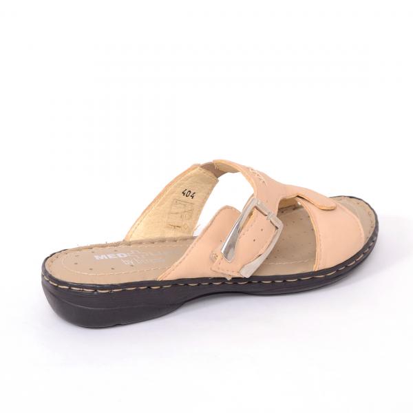 Papuci din piele naturala Medline, 404 Bej 1
