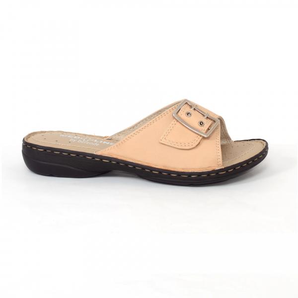Papuci din piele naturala Medline, 406 Bej 0
