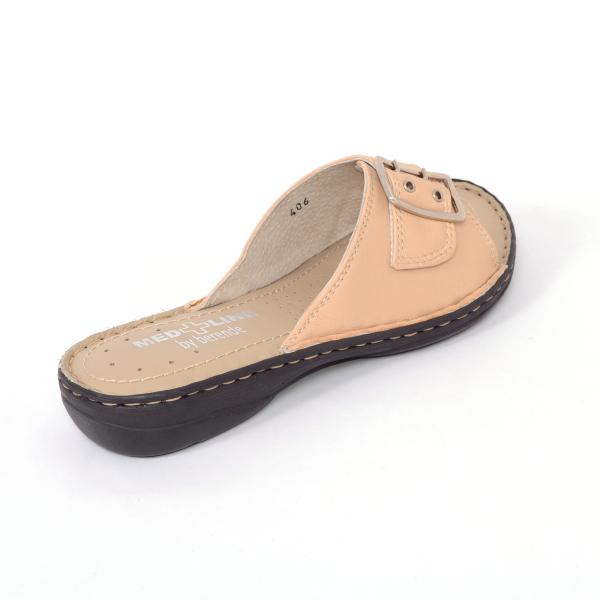 Papuci din piele naturala Medline, 406 Bej 1