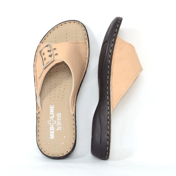 Papuci din piele naturala Medline, 406 Bej 2