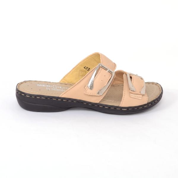 Papuci din piele naturala Medline, 403 Bej [0]