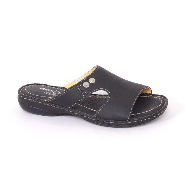 Papuci din piele naturala Medline, 400 Negru 0
