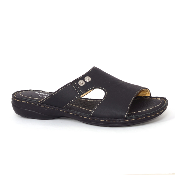 Papuci din piele naturala Medline, 400 Negru 3