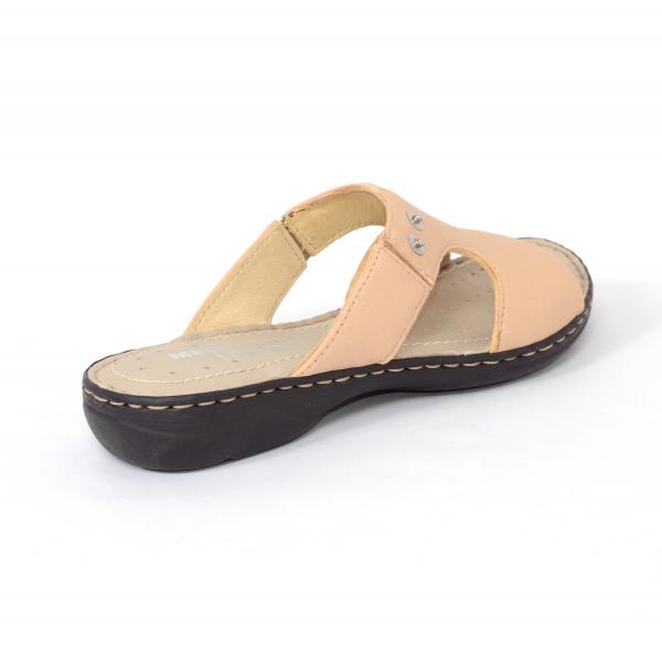 Papuci din piele naturala Medline 400 Bej 1