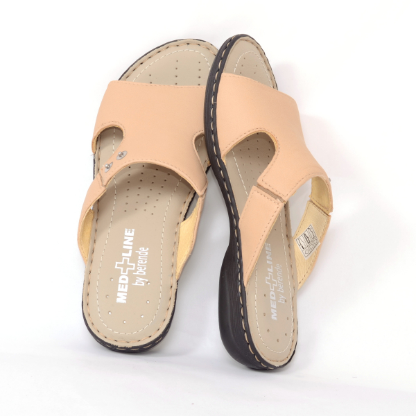 Papuci din piele naturala Medline 400 Bej 2