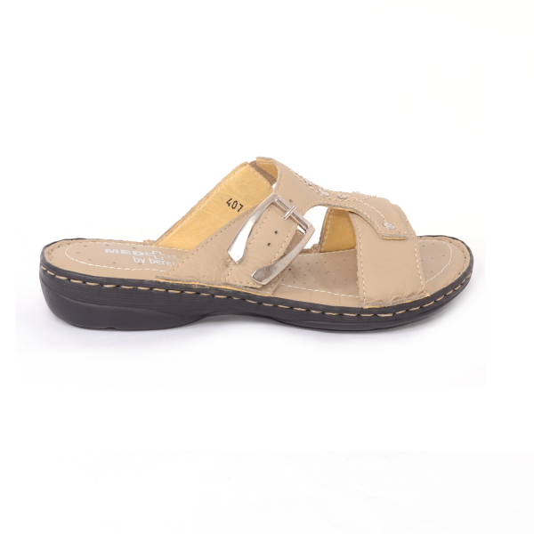 Papuci din piele naturala Medline, 407 Bej 2