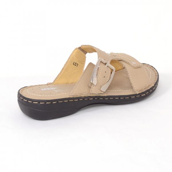 Papuci din piele naturala Medline, 407 Bej 1