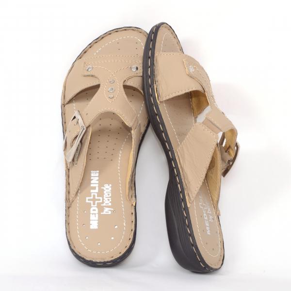 Papuci din piele naturala Medline, 407 Bej 3