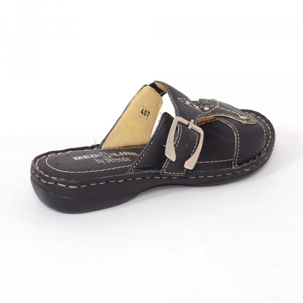 Papuci din piele naturala Medline, 407 Negru 1