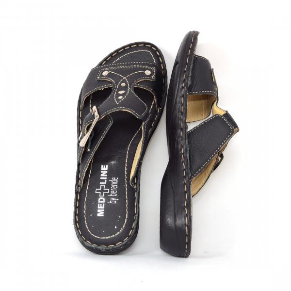 Papuci din piele naturala Medline, 407 Negru 3