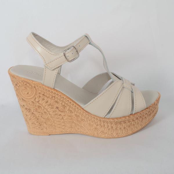 Sandale din piele naturala 204 Bej 1