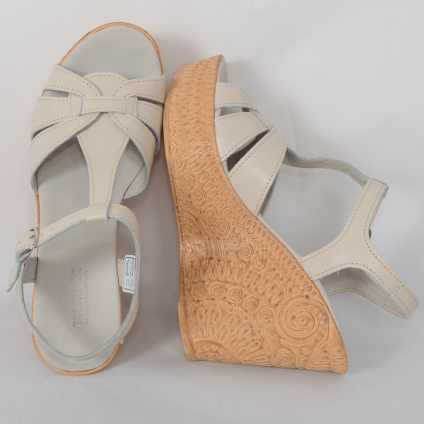 Sandale din piele naturala 204 Bej 2