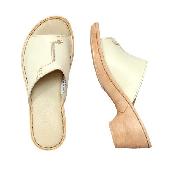 Papuci din piele naturala 315 Bej 3