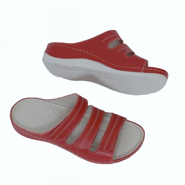 Papuci medicali din piele naturala 255 rosu 1