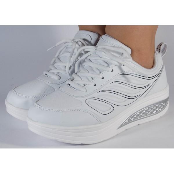Adidasi albi cu talpa convexa 1