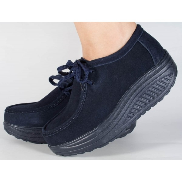 Pantofi bleumarin cu talpa convexa 0