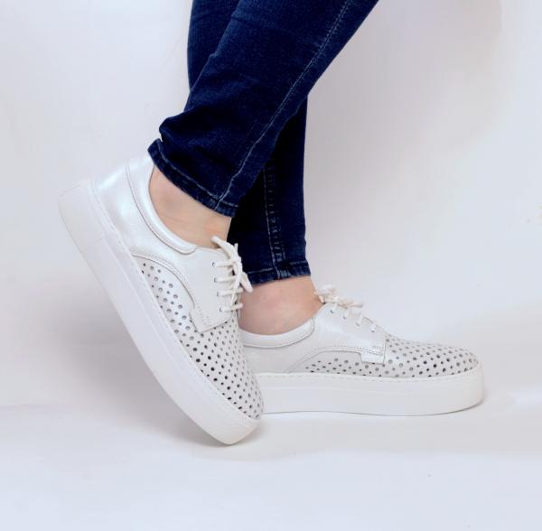 Pantofi casual dama 574 Alb Sidefat 1