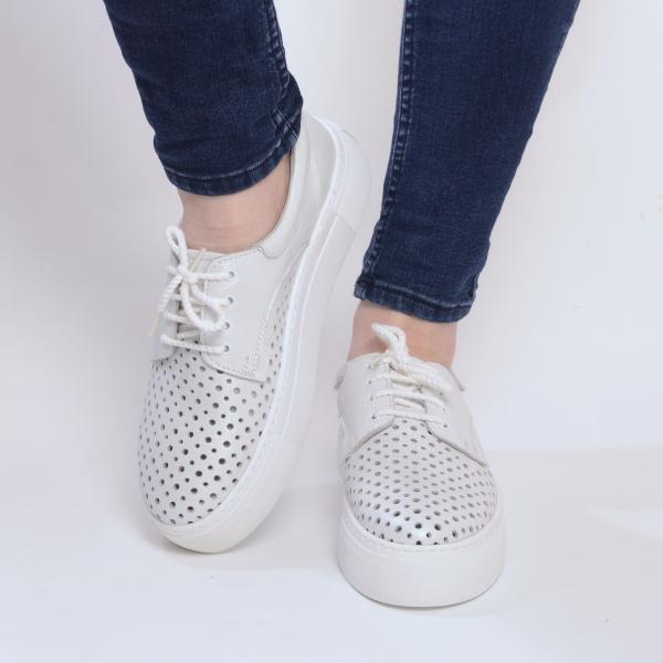 Pantofi casual dama 574 Alb Sidefat 2