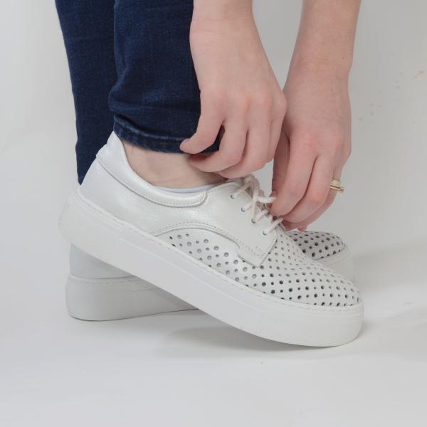 Pantofi casual dama 574 Alb Sidefat 3