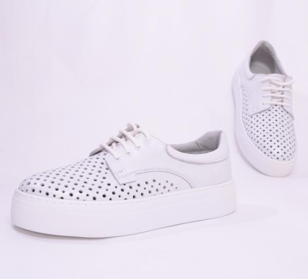Pantofi casual dama 574 Alb Sidefat 4