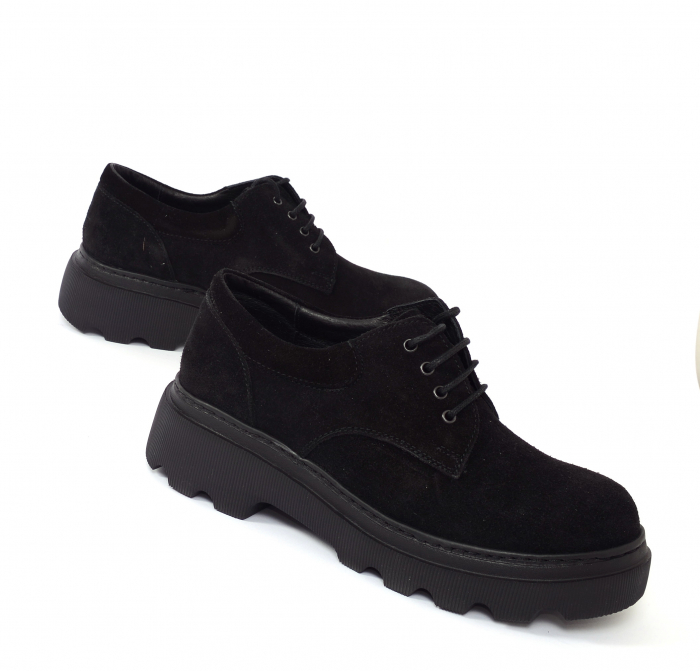 Pantofi casual dama 595 Negru Velur [1]