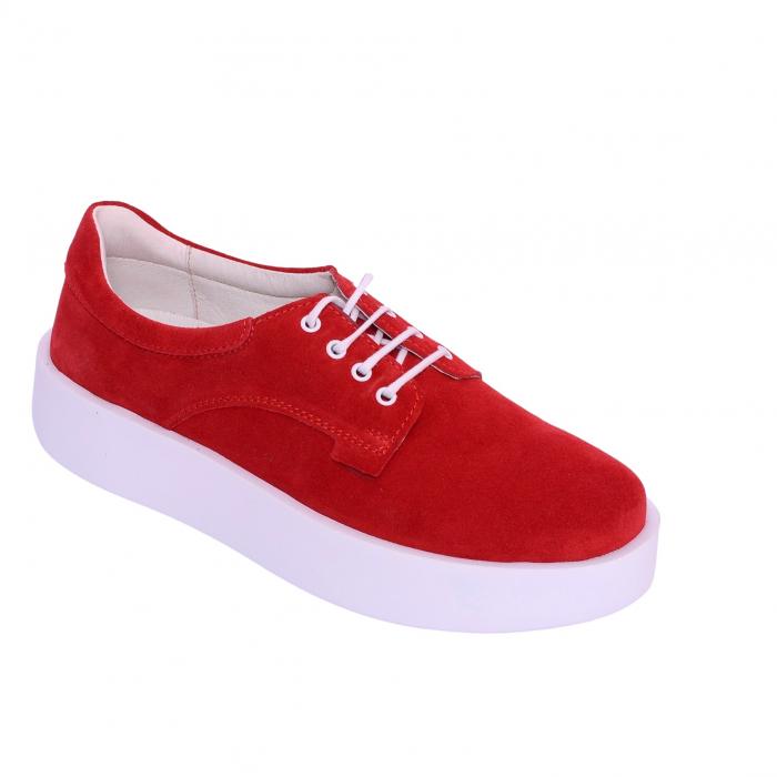 Pantofi casual dama 606 Rosu Velur [0]