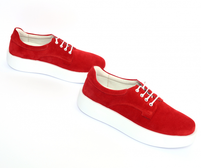 Pantofi casual dama 606 Rosu Velur [1]