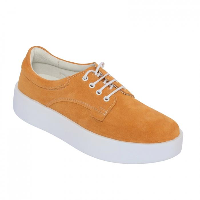 Pantofi casual dama 606 Galben Velur [1]