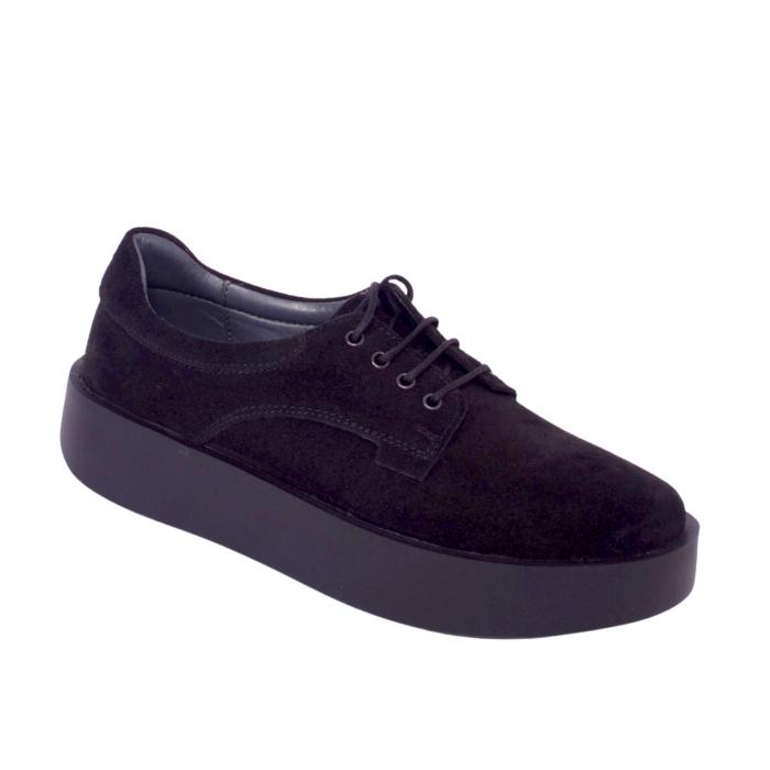 Pantofi casual dama 606 Negru Velur 2