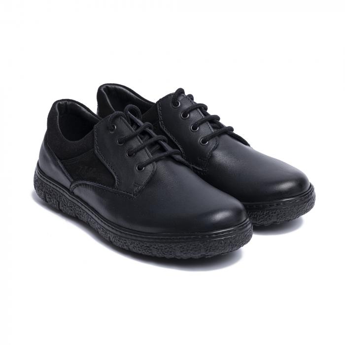 Pantofi casual din piele naturala 1020 Negru [0]