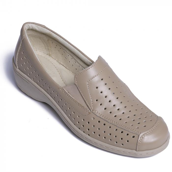 Pantofi casual din piele naturala 523 Bej [2]