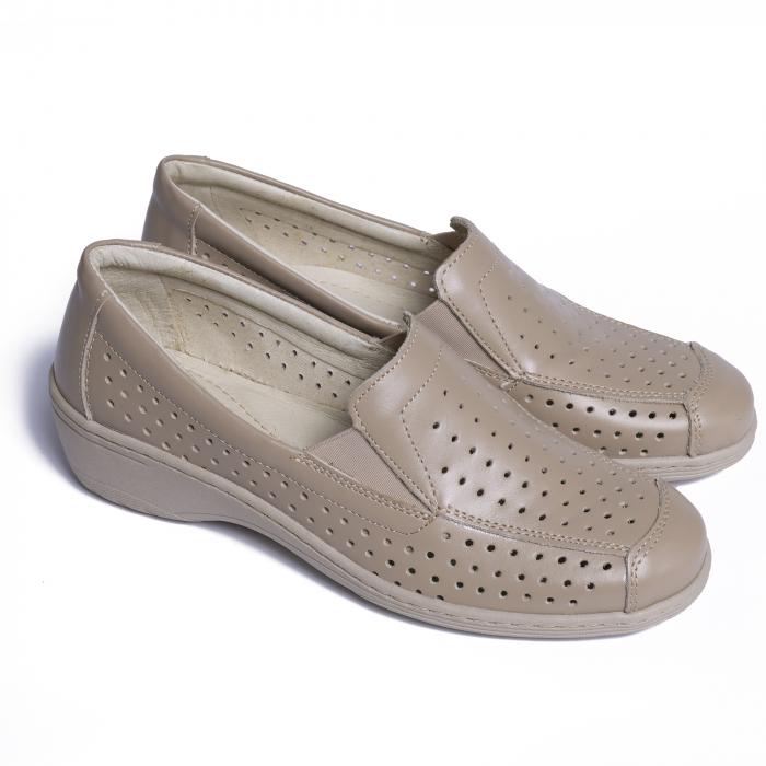 Pantofi casual din piele naturala 523 Bej [1]