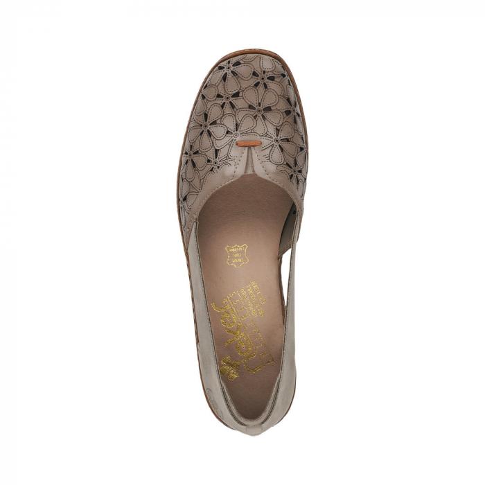 Pantofi de piele naturala Rieker 41356-64 Bej 3