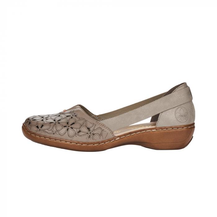 Pantofi de piele naturala Rieker 41356-64 Bej 4