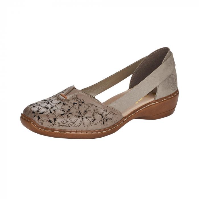 Pantofi de piele naturala Rieker 41356-64 Bej 5