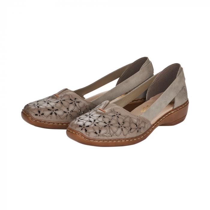Pantofi de piele naturala Rieker 41356-64 Bej 7
