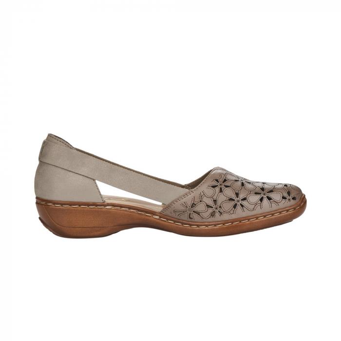 Pantofi de piele naturala Rieker 41356-64 Bej 2