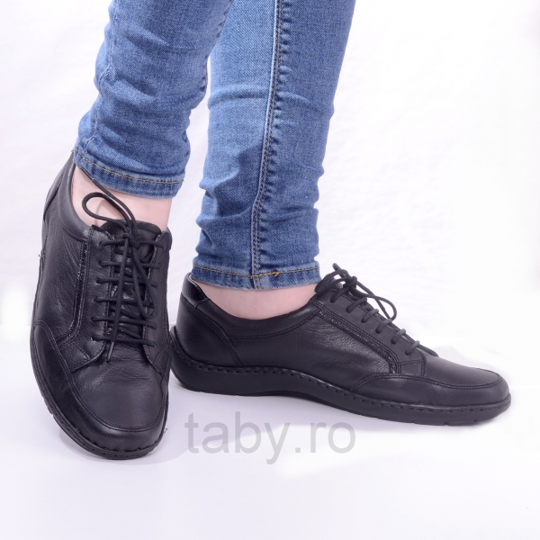 Pantofi din piele dama Medline 446 Negru 0