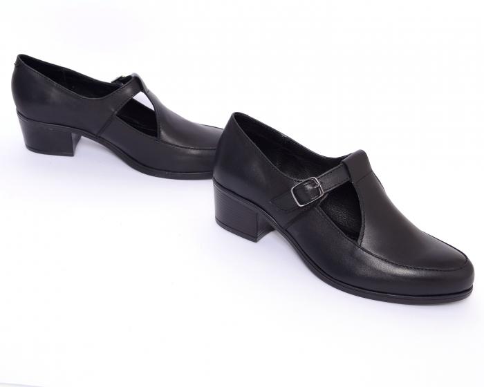 Pantofi din piele naturala 599 Negru 1