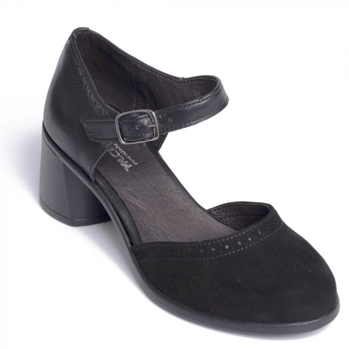Pantofi din piele naturala 216 Negru [5]