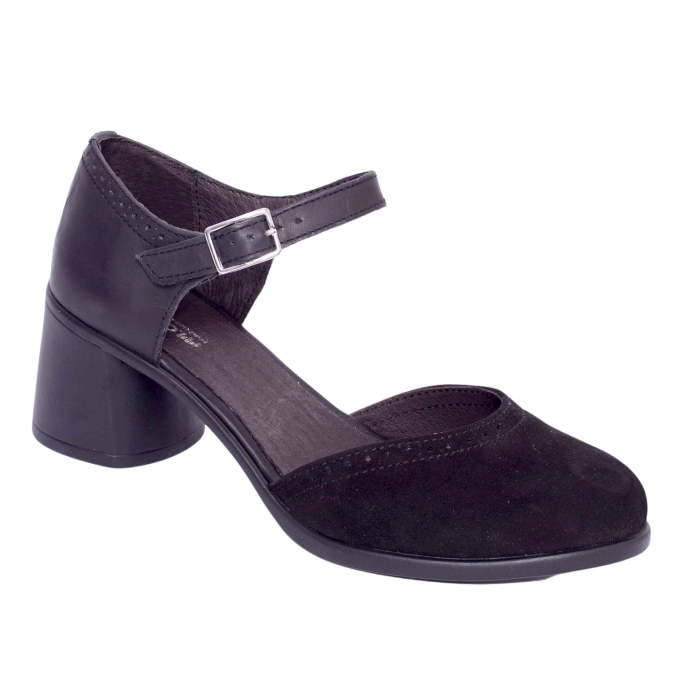 Pantofi din piele naturala 216 Negru 0