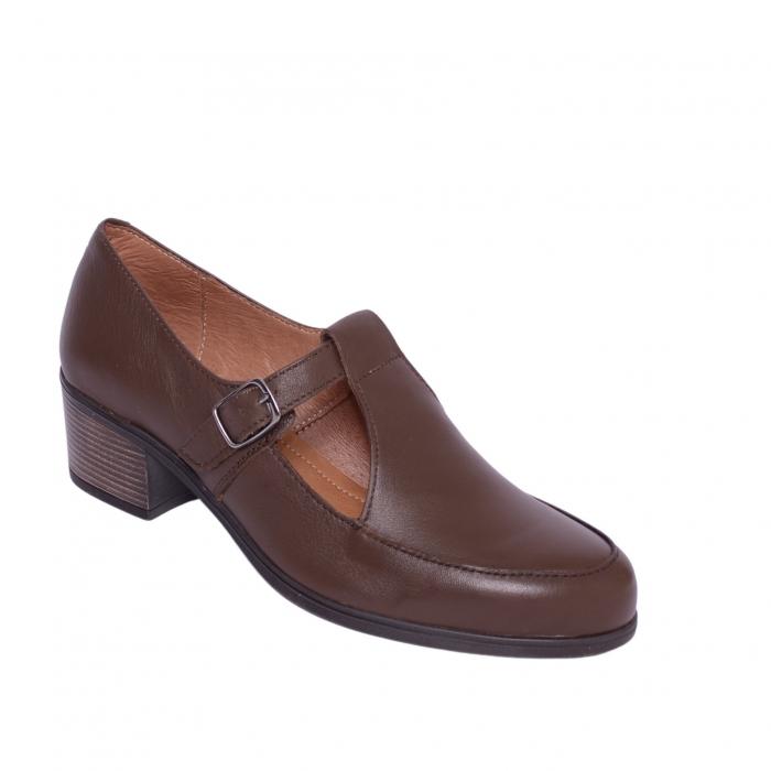 Pantofi din piele naturala 599 Maro [0]